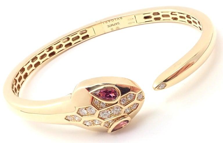 Women's or Men's Bulgari Bvlgari Serpenti Snake Diamond Rubellite Yellow Gold Bangle Bracelet For Sale