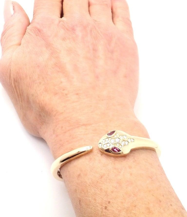 Bulgari Bvlgari Serpenti Snake Diamond Rubellite Yellow Gold Bangle Bracelet For Sale 1