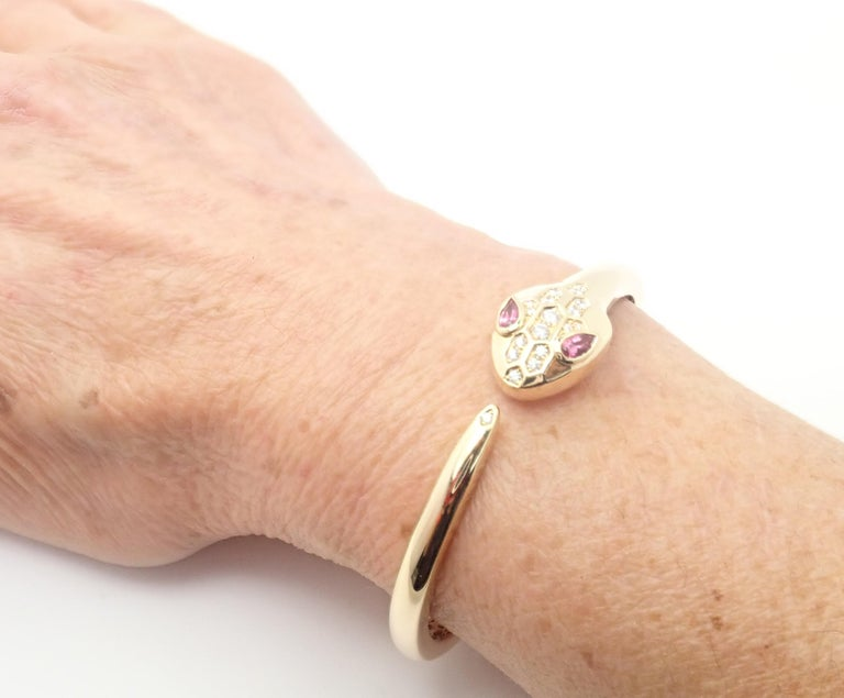 Bulgari Bvlgari Serpenti Snake Diamond Rubellite Yellow Gold Bangle Bracelet For Sale 2