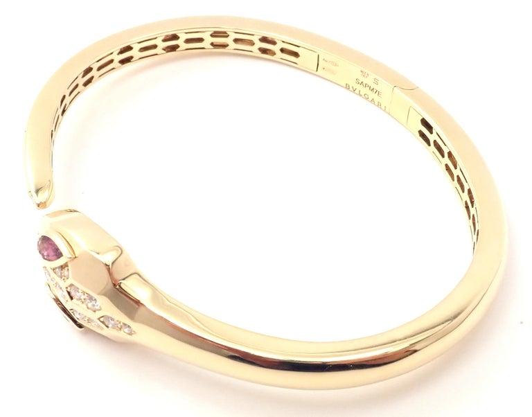 Bulgari Bvlgari Serpenti Snake Diamond Rubellite Yellow Gold Bangle Bracelet For Sale 3