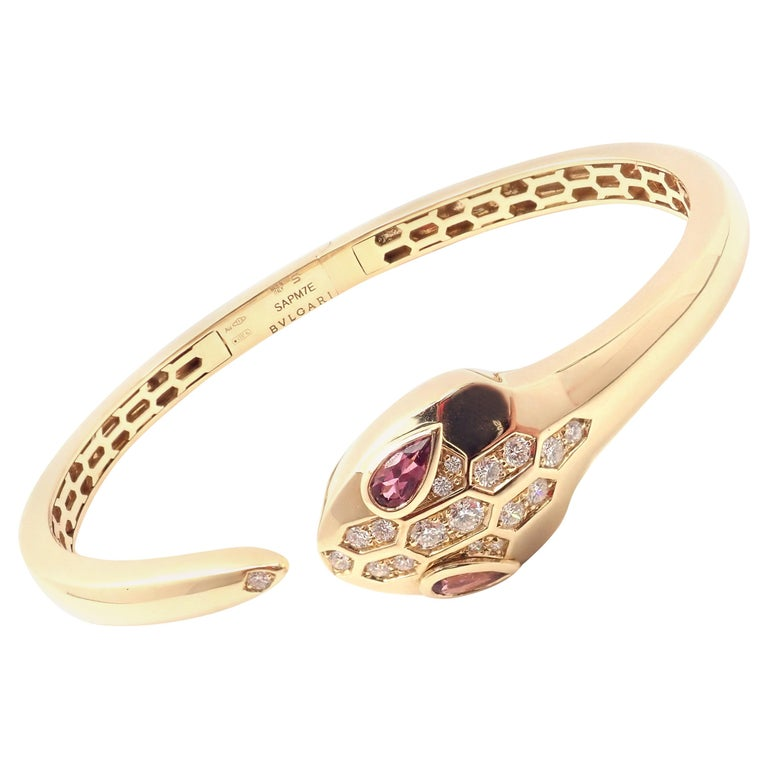 Bulgari Bvlgari Serpenti Snake Diamond Rubellite Yellow Gold Bangle Bracelet For Sale