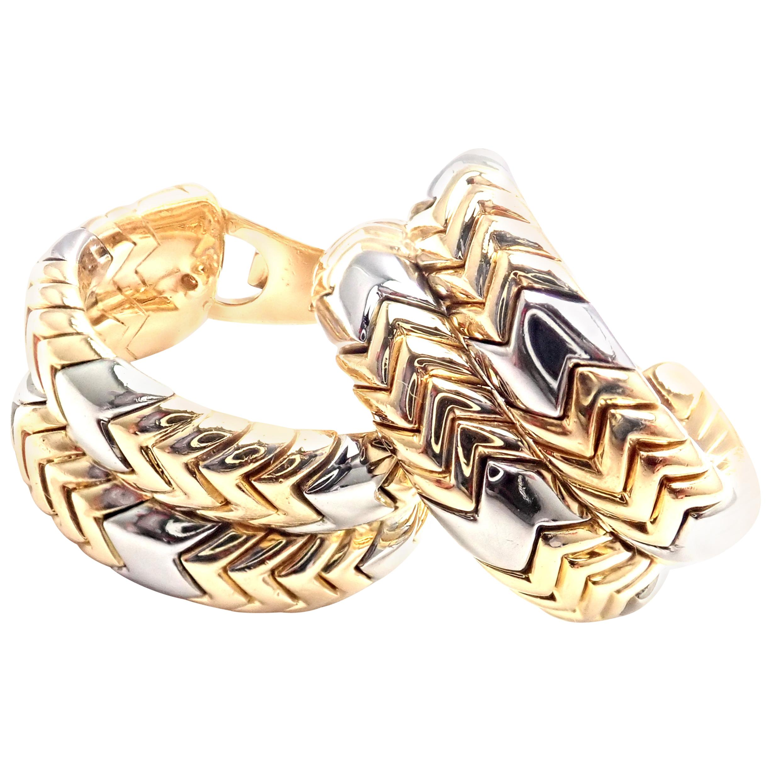 Bulgari Bvlgari Spiga Yellow Gold and Stainless Steel Hoop Earrings