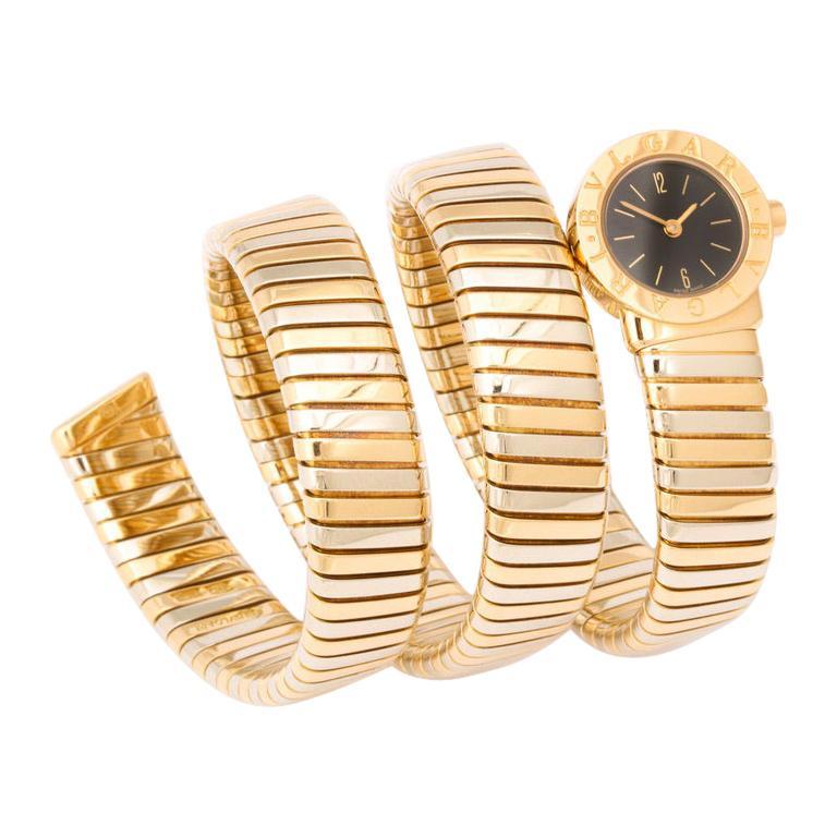 "Bulgari ""Bvlgari"" Tricolor Gold and Steel Tubogas Serpenti Snake Bracelet Watch"