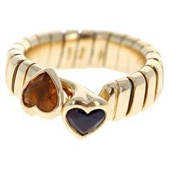 Bulgari Bvlgari Tubogas 18 Karat Gold, Citrine and Amethyst Heart Ring 8.8g