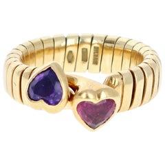 Bulgari Bvlgari Tubogas 18 Karat Gold, Tourmaline and Amethyst Heart Ring 9.6g