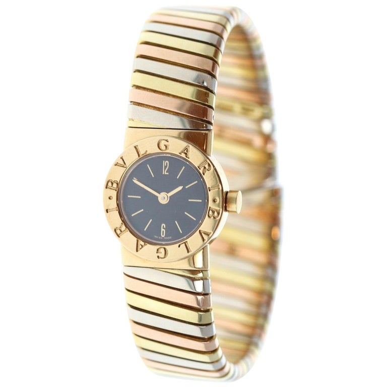 Bulgari Bvlgari Tubogas 18 Karat White, Yellow and Rose Gold Watch BB 19 2T