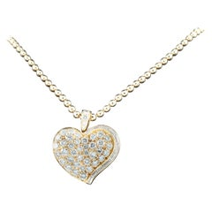 Bulgari Bvlgari Vintage 18 Karat Gold Diamond Heart Pendant with Ball Chain