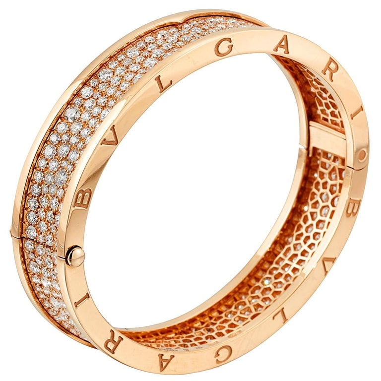 Bulgari Bzero Pave Diamond Rose Gold Bangle For Sale