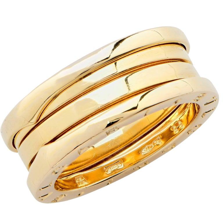 Modern Bulgari Bzero Two Section Ring in 18 Karat Yellow Gold For Sale