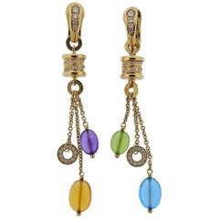 Bulgari B.Zero1 Diamond Gemstone Gold Drop Earrings