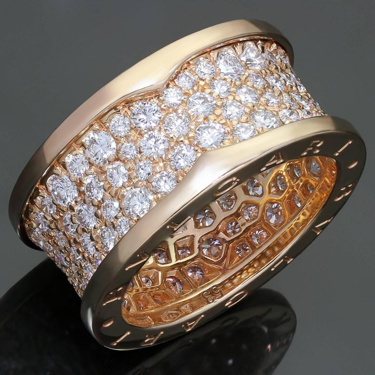This fabulous ring from Bulgari's iconic B.zero1 collection features a single band design crafted in 18k rose gold, engraved with the Bvlgari logo on both sides and pave-set with sparkling brilliant-cut round diamonds of an estimated 2.80 carats.
