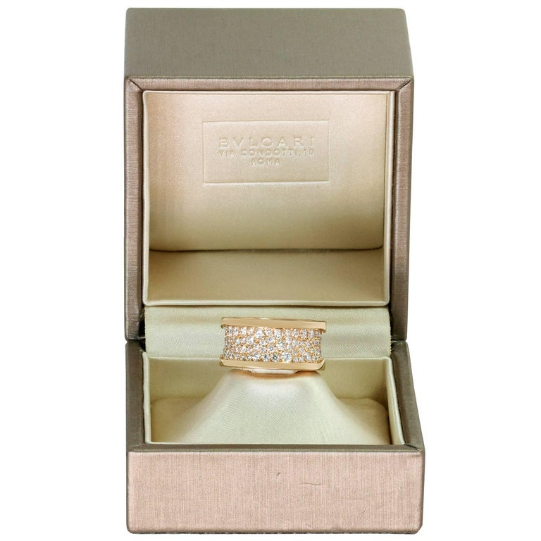 Bulgari B.Zero1 Diamond Rose Gold Band Ring. Sz. 6.25 - EU53 In Excellent Condition For Sale In New York, NY
