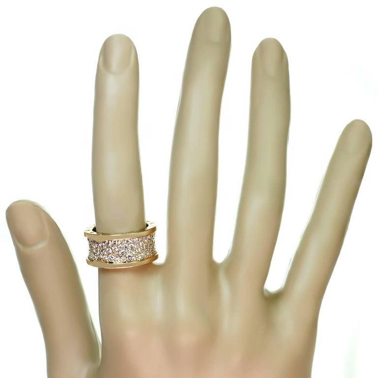 Women's Bulgari B.Zero1 Diamond Rose Gold Band Ring. Sz. 6.25 - EU53 For Sale
