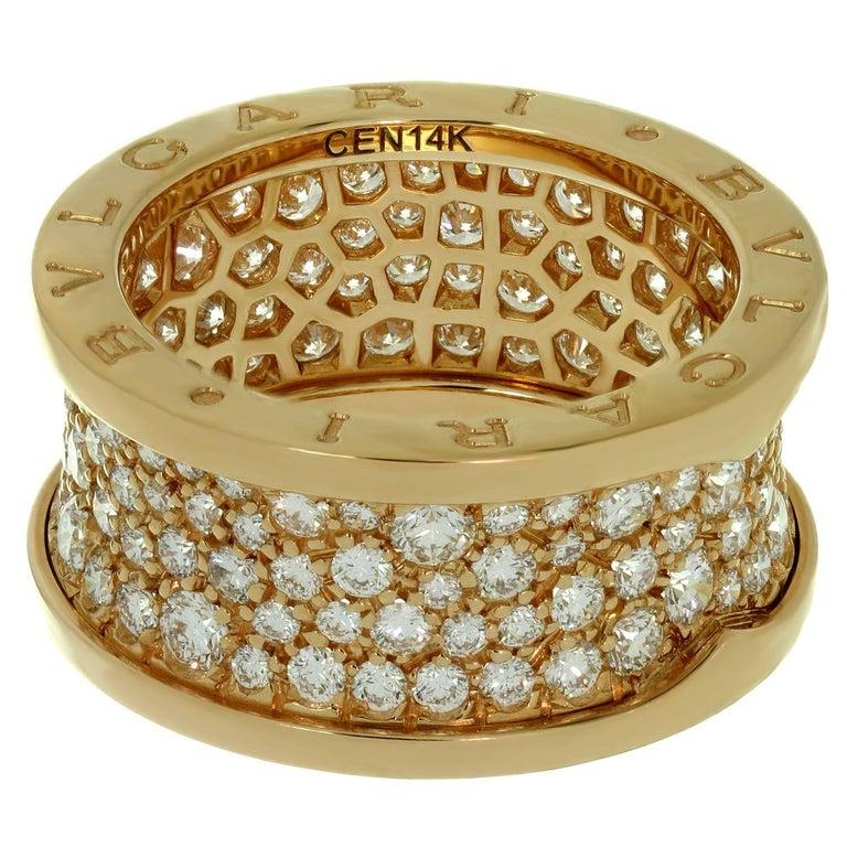 Bulgari B.Zero1 Diamond Rose Gold Band Ring. Sz. 6.25 - EU53 For Sale 1