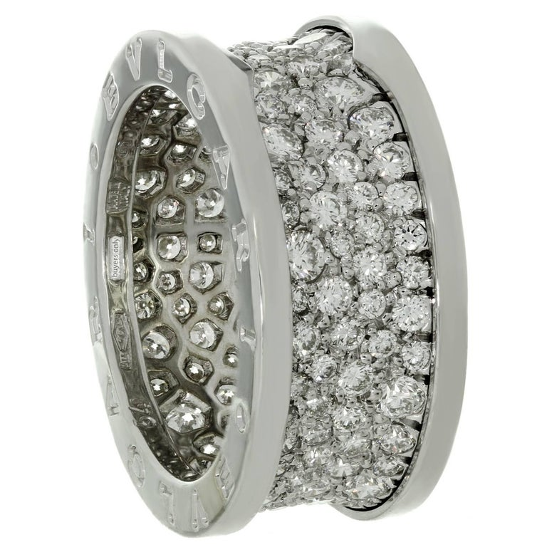 Bulgari B. Zero1 Diamond White Gold Band Ring. Sz. 6.75 - EU 54 For Sale 1