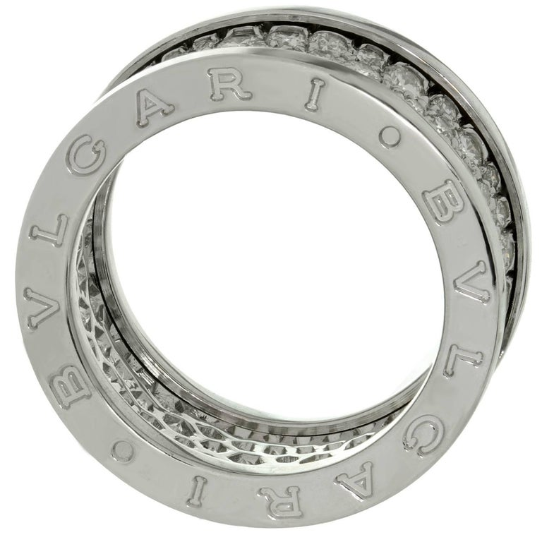 Bulgari B. Zero1 Diamond White Gold Band Ring. Sz. 6.75 - EU 54 For Sale 2