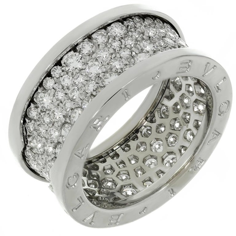 Bulgari B. Zero1 Diamond White Gold Band Ring. Sz. 6.75 - EU 54 For Sale