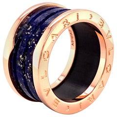 Bulgari B.Zero1 Lapis Lazuli Band Ring in 18 Karat Rose Gold