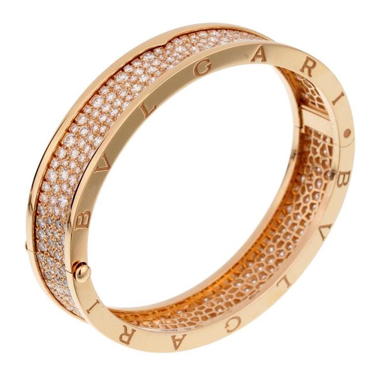 An iconic Bulgari Bzero1 bangle bracelet adorned with 9.52ct of the finest round brilliant cut diamonds. The bracelet measures a size medium.  The bracelet retails for $64,000 + Tax