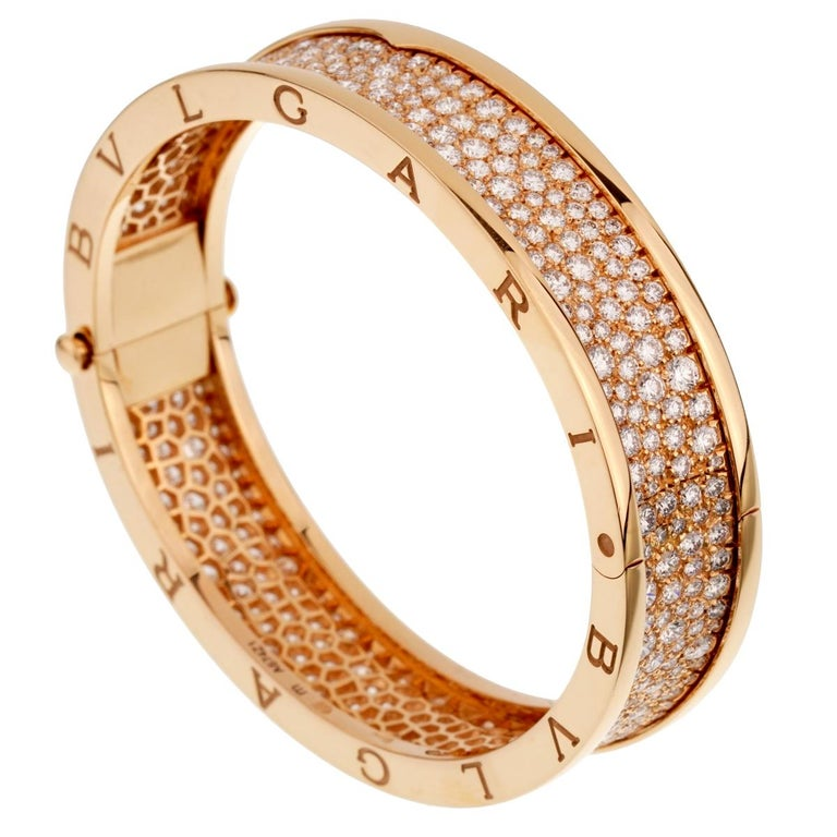 Round Cut Bulgari Bzero1 Rose Gold Diamond Bangle Bracelet For Sale