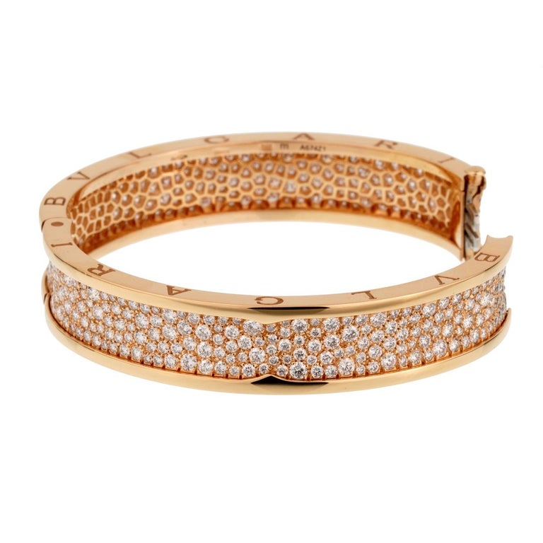 Bulgari Bzero1 Rose Gold Diamond Bangle Bracelet In Excellent Condition For Sale In Feasterville, PA
