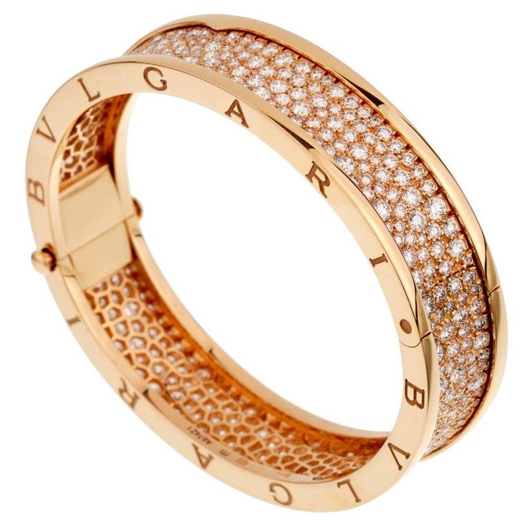Bulgari Bzero1 Rose Gold Diamond Bangle Bracelet For Sale