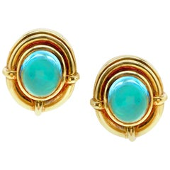 Bulgari Cabochon Blue Topaz Yellow Gold Earrings