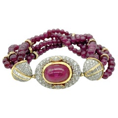 Bulgari Cabochon Burmese Ruby, Diamond, and Ruby Bead Torsade Bracelet