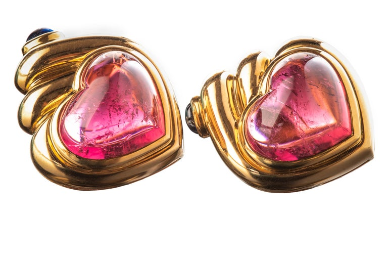 Women's or Men's Bulgari Cabochon Tourmaline and Sapphire Heart Earrings For Sale