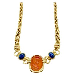 Bulgari Carnelian Intaglio and Cabochon Sapphire Yellow Gold Necklace