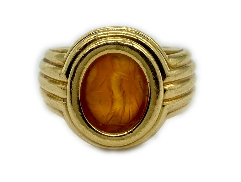 Bulgari Carnelian Intaglio Ring In Excellent Condition In New York, NY