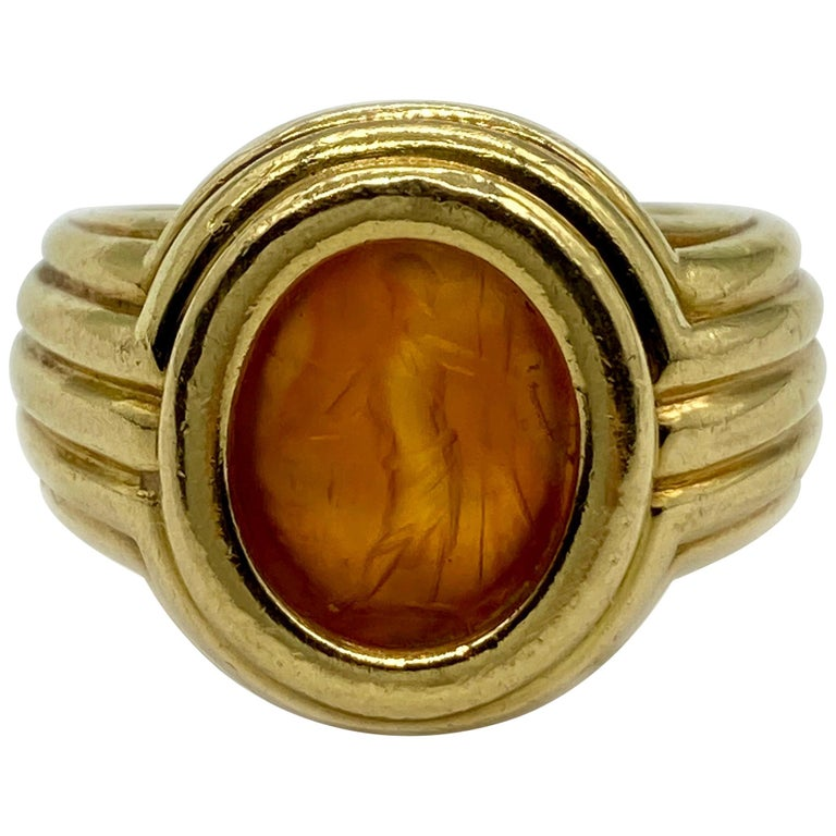 Bulgari carnelian-intaglio ring, 1970s, offered by Eleuteri