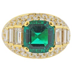 Bulgari Certified 4.03 Carat No Oil Colombian Emerald Diamond Gold Ring