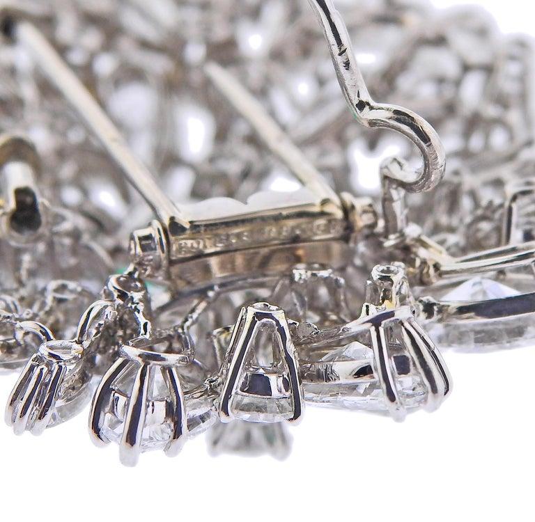 Women's Bulgari Certified 6.61 Carat Colombian Emerald Diamond Platinum Brooch For Sale