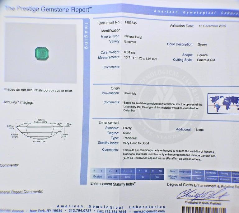 Bulgari Certified 6.61 Carat Colombian Emerald Diamond Platinum Brooch For Sale 1
