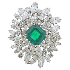 Bulgari Certified 6.61 Carat Colombian Emerald Diamond Platinum Brooch