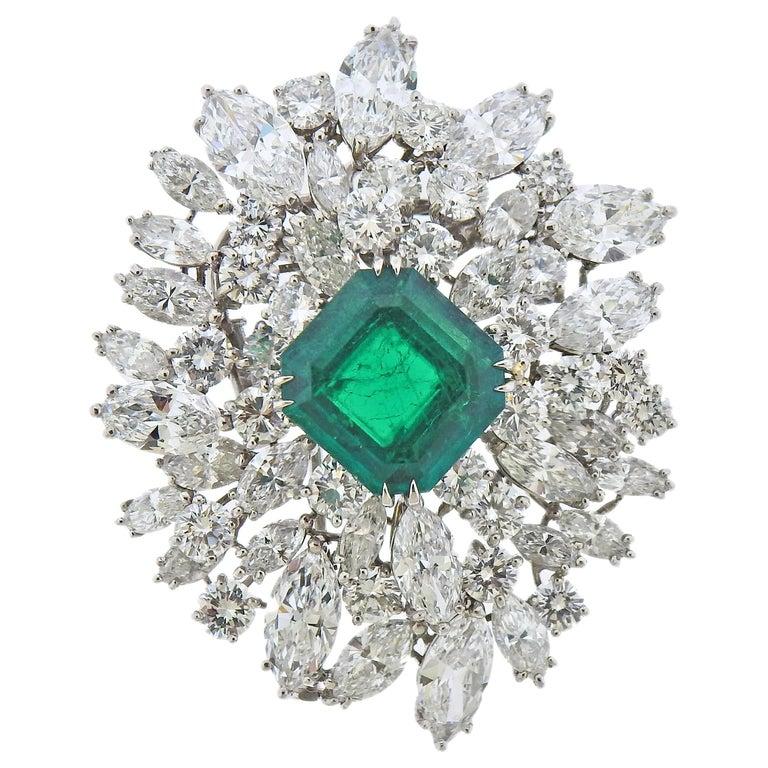 Bulgari Certified 6.61 Carat Colombian Emerald Diamond Platinum Brooch For Sale