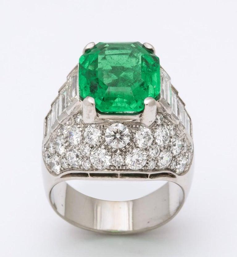 Bulgari Certified Colombian Emerald Diamond Trombino Ring For Sale 4