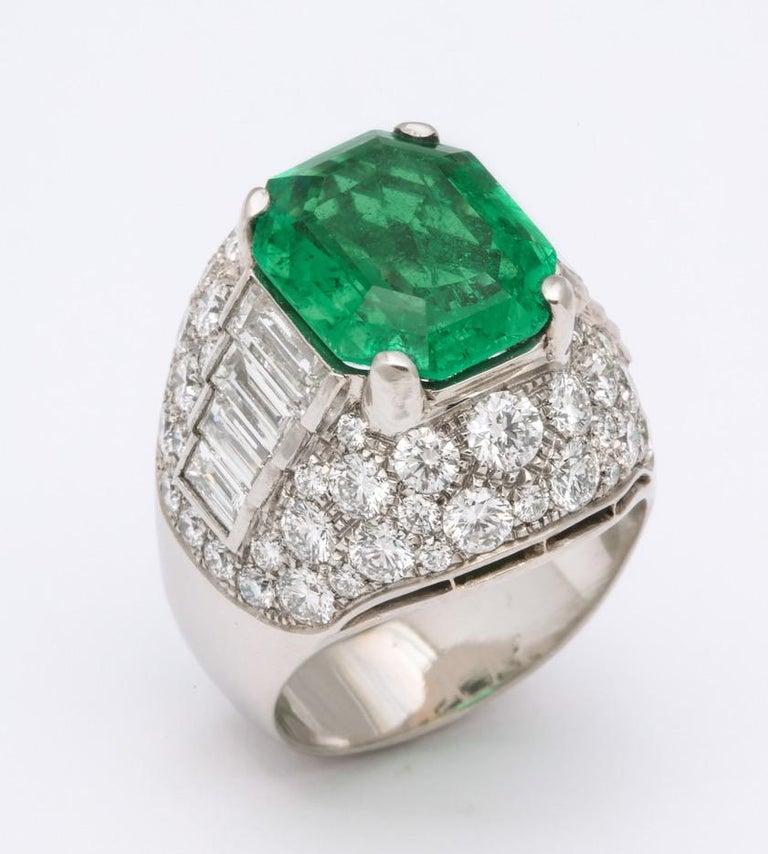 Bulgari Certified Colombian Emerald Diamond Trombino Ring For Sale 5