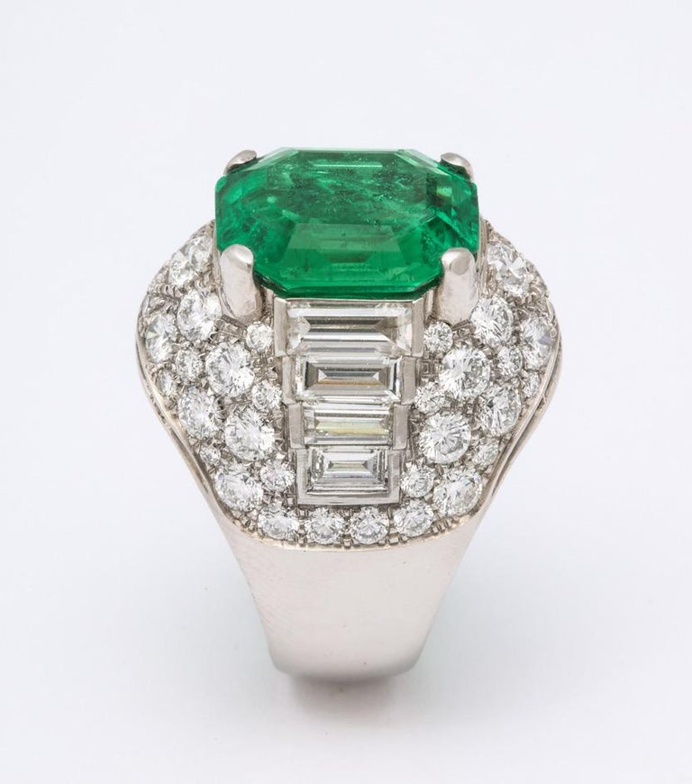 Bulgari Certified Colombian Emerald Diamond Trombino Ring For Sale 6
