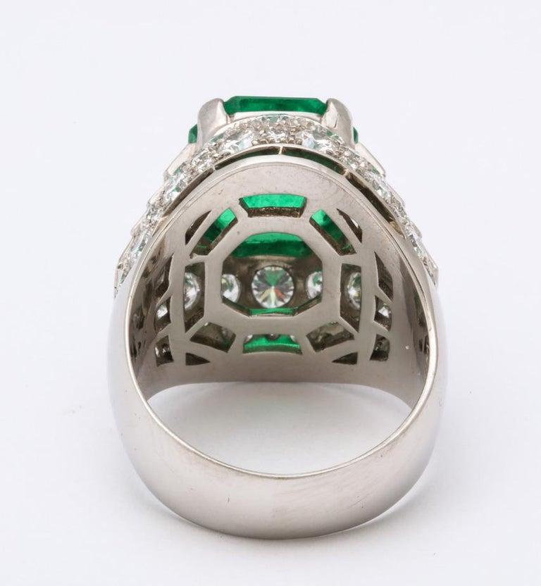Bulgari Certified Colombian Emerald Diamond Trombino Ring For Sale 7