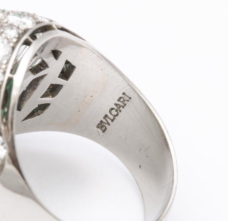 Bulgari Certified Colombian Emerald Diamond Trombino Ring For Sale 8