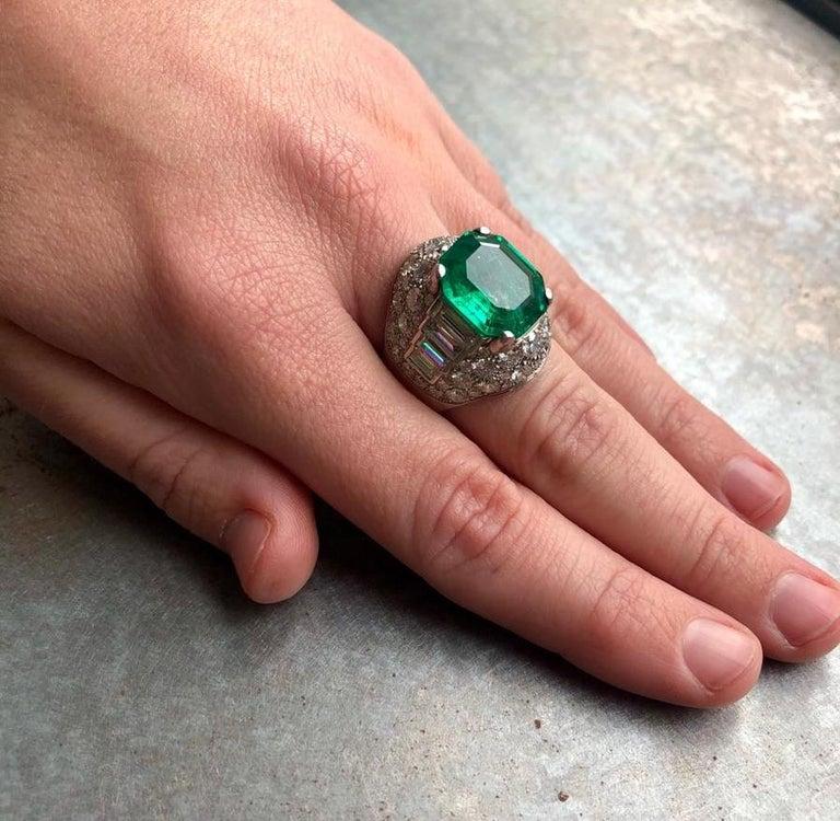 Modern Bulgari Certified Colombian Emerald Diamond Trombino Ring For Sale