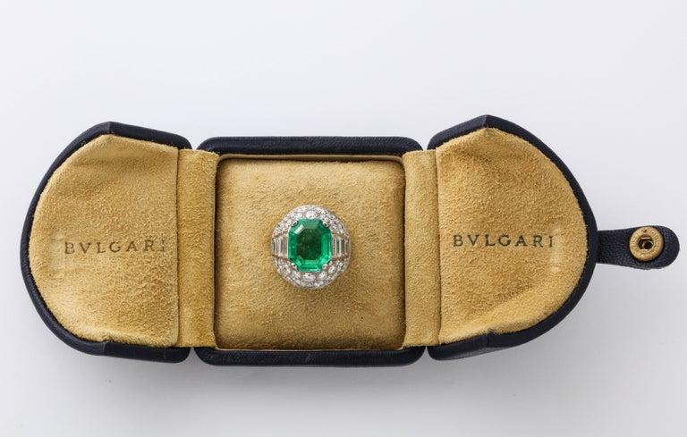 Emerald Cut Bulgari Certified Colombian Emerald Diamond Trombino Ring For Sale