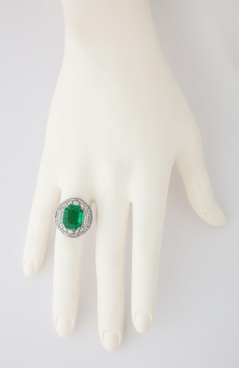 Bulgari Certified Colombian Emerald Diamond Trombino Ring In Excellent Condition For Sale In Bal Harbour, FL