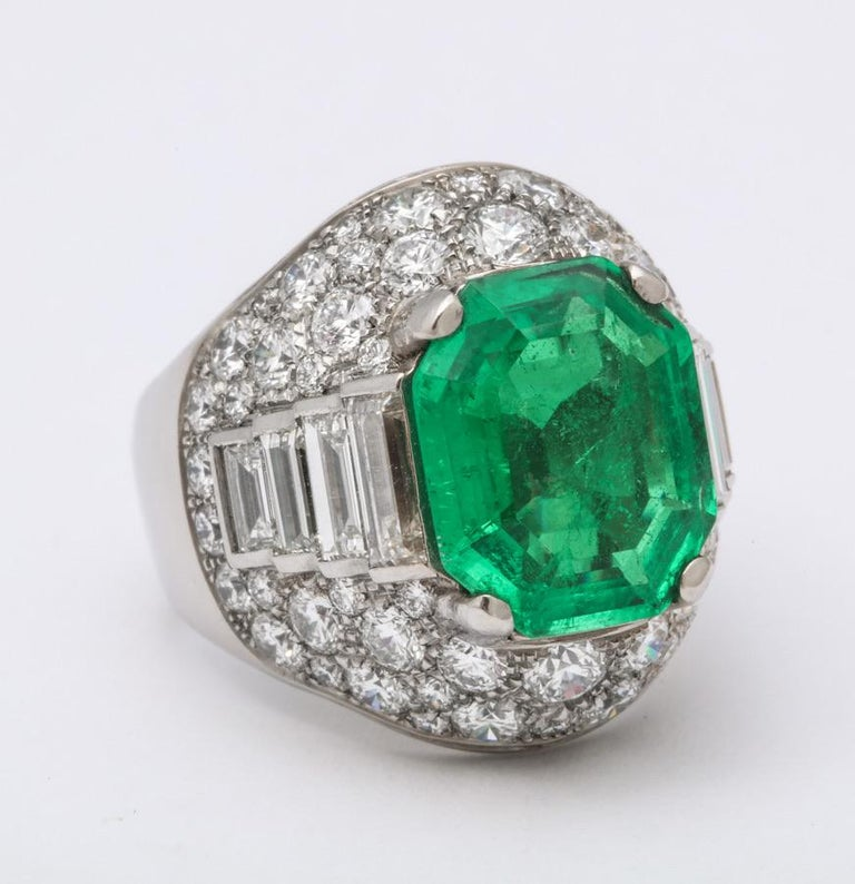 Bulgari Certified Colombian Emerald Diamond Trombino Ring For Sale 1