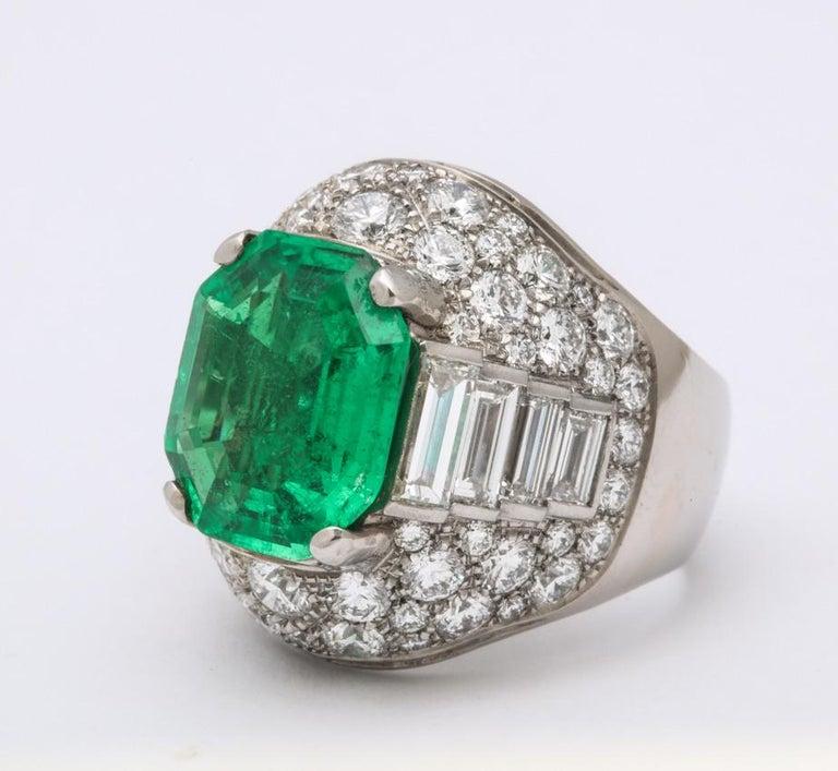 Bulgari Certified Colombian Emerald Diamond Trombino Ring For Sale 2