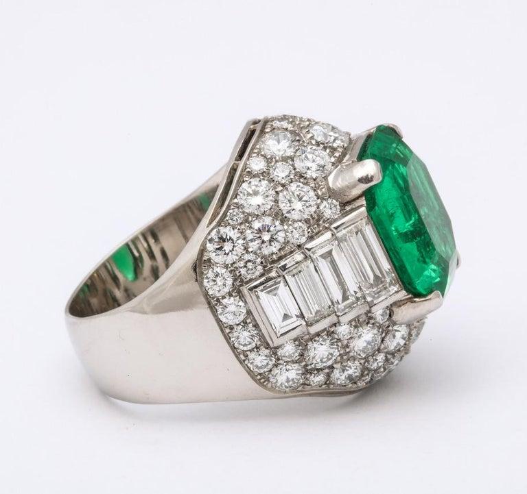 Bulgari Certified Colombian Emerald Diamond Trombino Ring For Sale 3