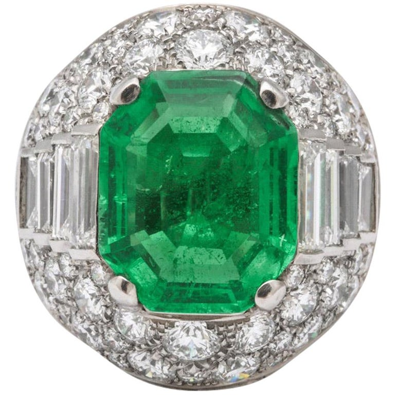 Bulgari Certified Colombian Emerald Diamond Trombino Ring For Sale