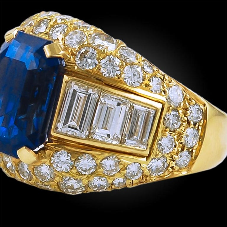 Bulgari Ceylon No-Heat Sapphire Diamond Ring In Good Condition For Sale In New York, NY